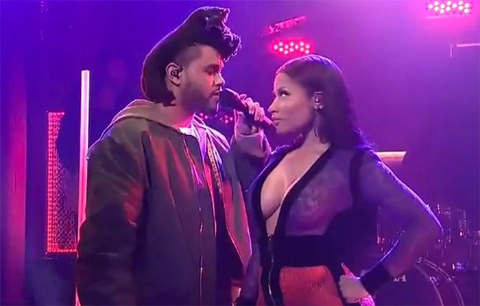 "The Weeknd, Nicki Minaj perform ""The Hills"" (Live on SNL)"